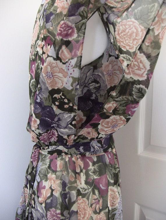 Vintage 80s Floral Chiffon Dress - image 8