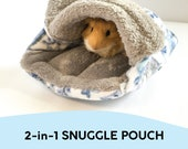 2-in-1 Snuggle Pouch for small animals Snuggle Sack for guinea pigs, rats, hedgehogs, chinchilla Cave bed