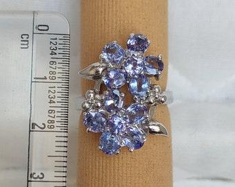 Large Vintage Ring  Natural Tanzanite Flower Design Ring, 92.5 Sterling Silver Ring,