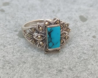Large Natural Gemstone Ring Vintage Ring  Natural Turquoise Marcasite Ring in Solid 92.5 Sterling Silver Handmade Vintage Ring