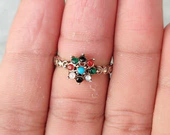 Multi Gemstone Ring  Natural Marcasite Ring  92.5 Sterling Silver