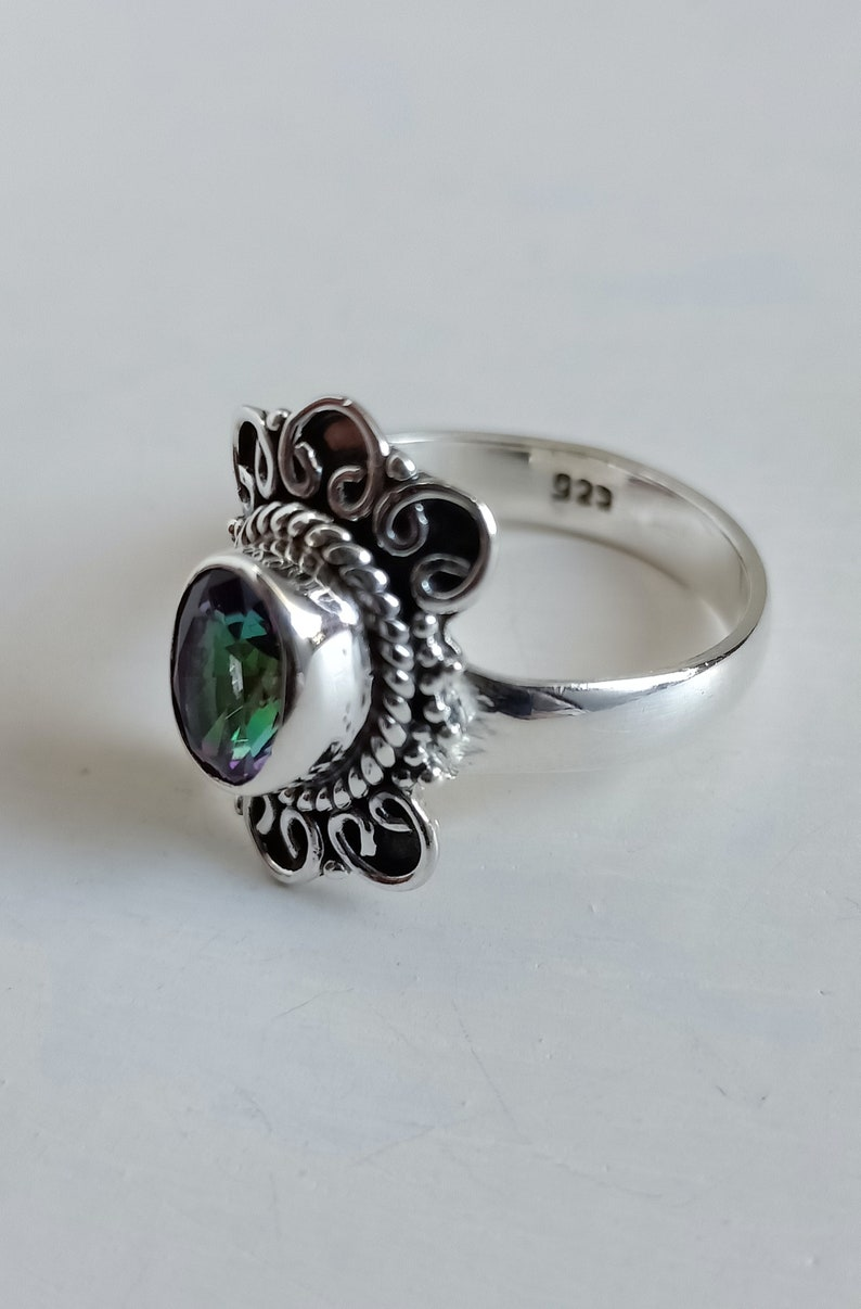 Boho Ring Mystic Topaz Ring Handmade Ring solid 92.5 sterling silver Tribal Gemstone Ring