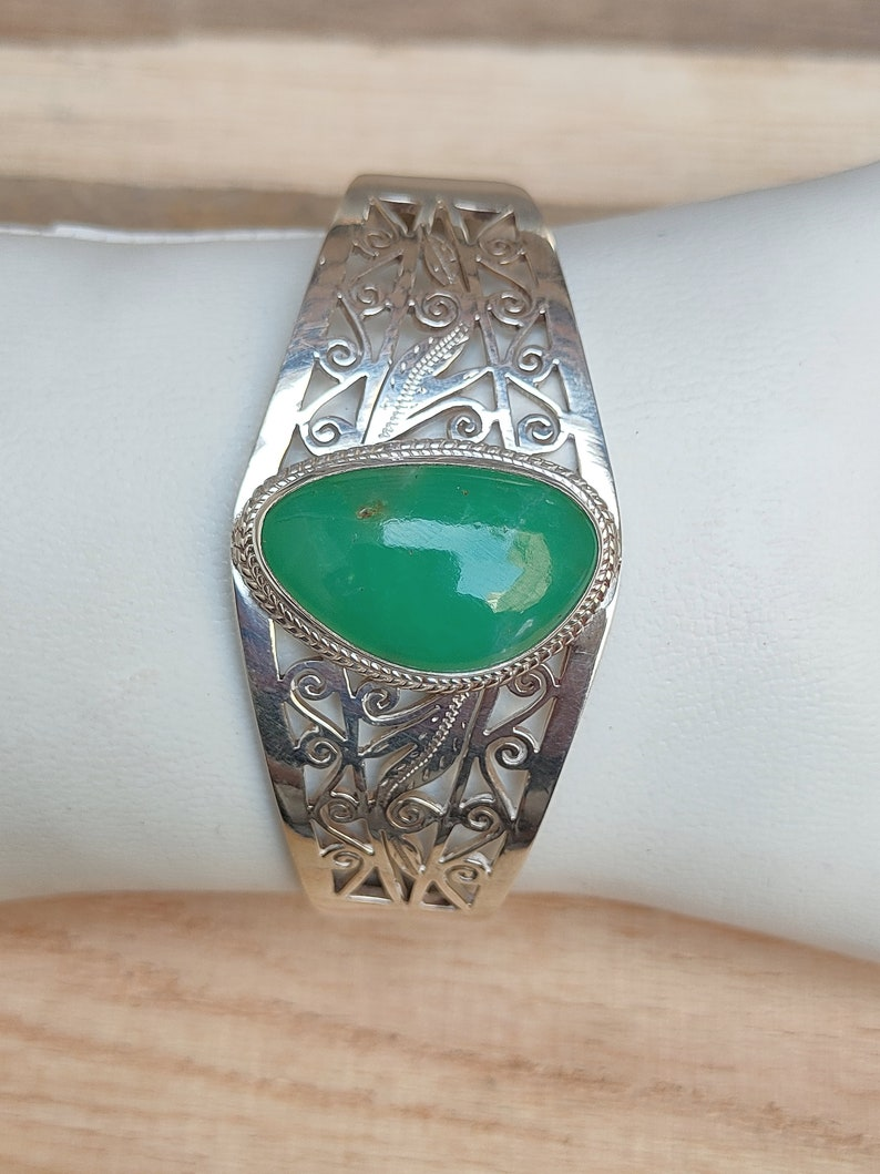 Tribal Silver Bangle Handmade Natural chrysoprase Filigree Silver Bangle Natural Chrysoprase Bangle In Solid 92.5 Sterling Silver
