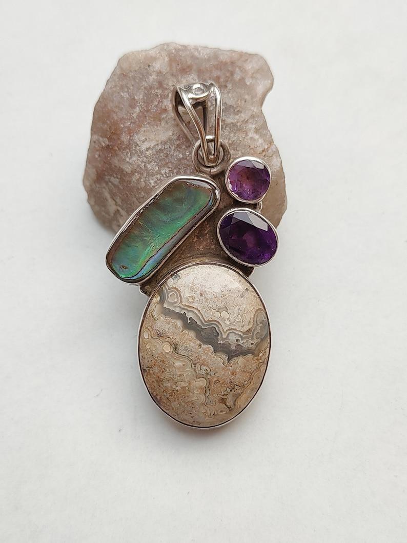 925 Sterling Silver Pendant Natural Obsidian Jasper , Natural Mother Of Peal Natural Amethyst