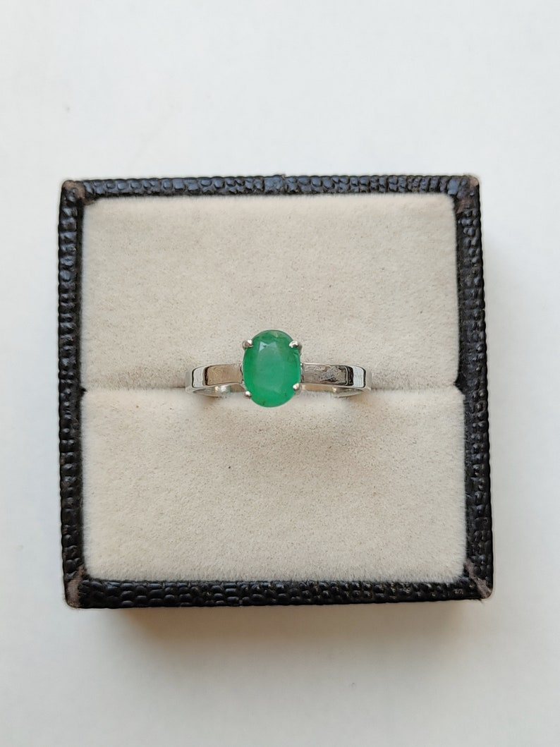 92.5 Sterling Silver Handmade Emerald Jewellery Natural Colombian Emerald Ring Natural Emerald