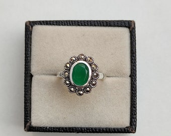 Vintage Ring Natural Gemstone Ring  Natural Green Onyx Marcasite Ring in Solid 92.5 Sterling Silver Handmade Vintage Ring