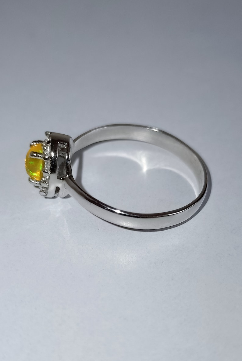 Natural Opal Ring Opal Halo Ring in Solid 92.5 Sterling Silver