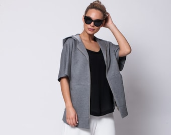 GREY JACKET, 3/4 sleeve, hood, Autumn jacket, jacket zipper, hood jacket, womens jacket, grey jacket, womens clothing, formal jacket, fall