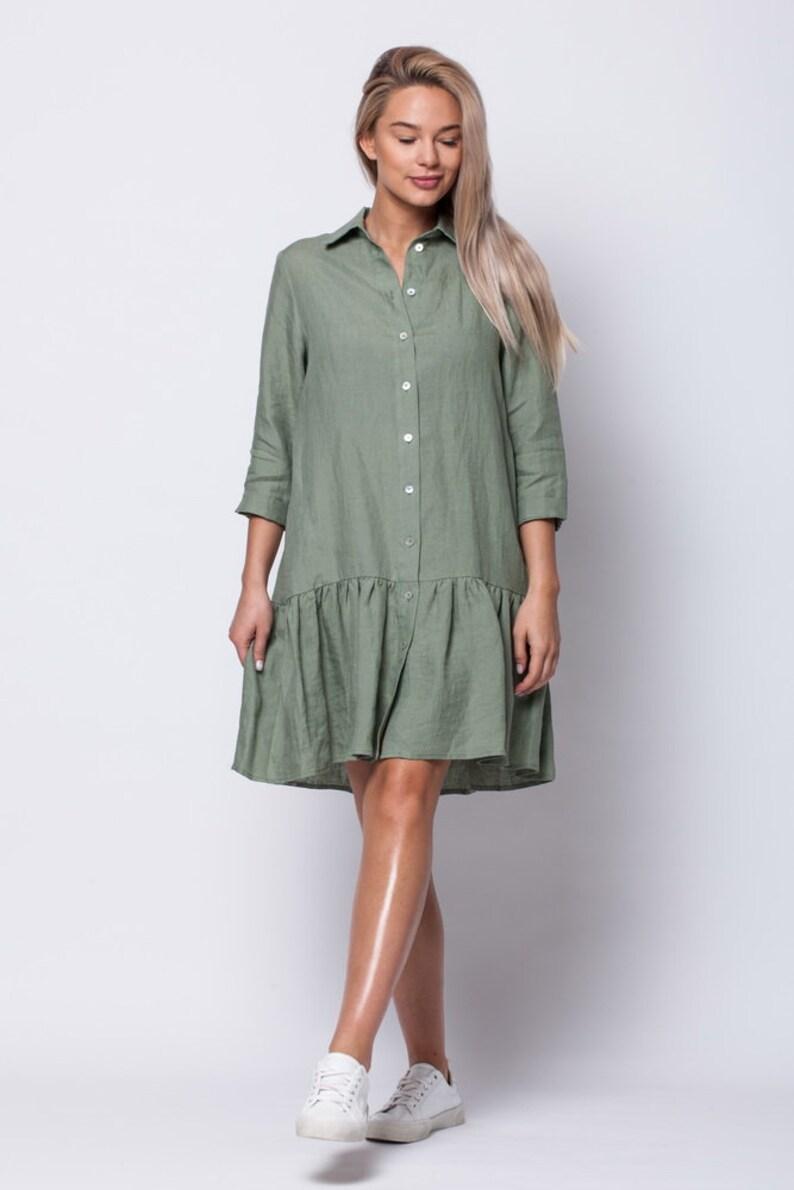 chaki linen pure linen women/'s clothing linen shirt linen dress linen shirt dress LINEN DRESS SHIRT Chaki 100/% linen women/'s dress