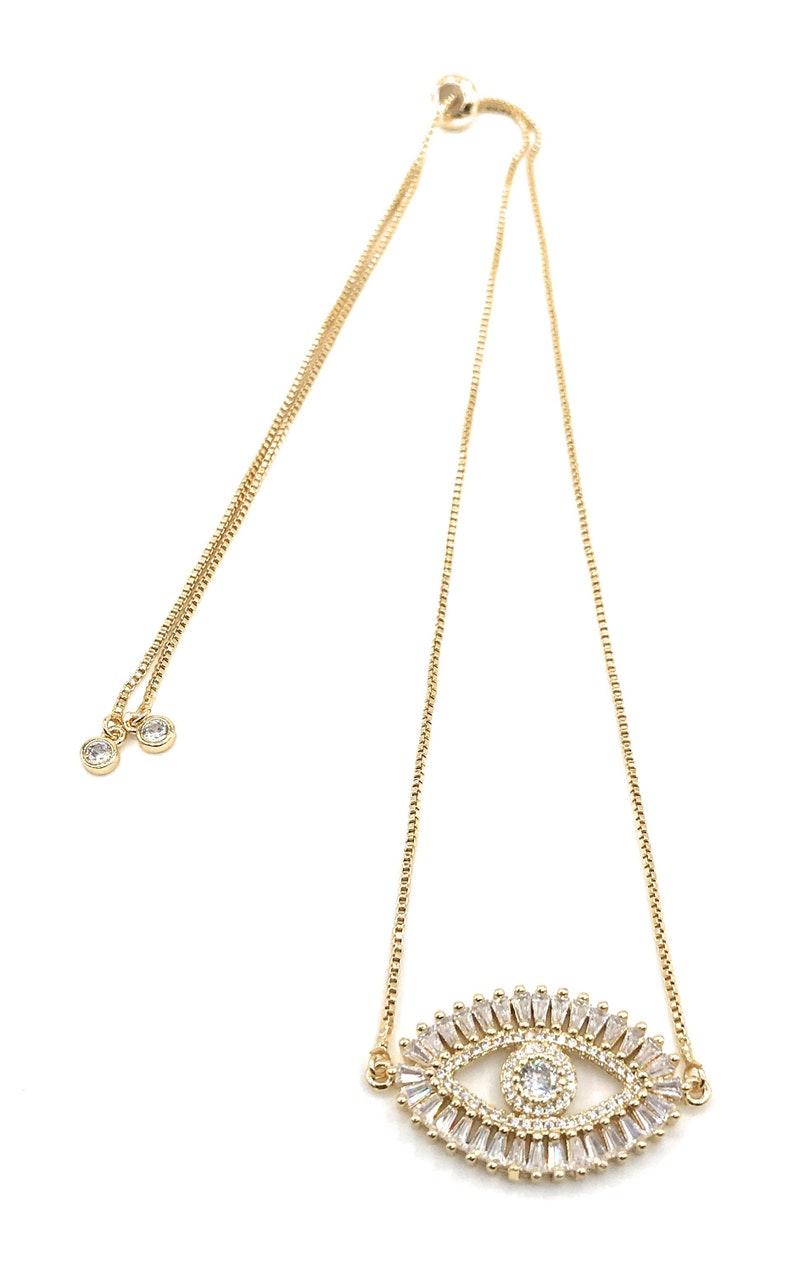 Fashion Jewelry Amulet Gold Evil Eye Choker Necklace Cubic Zirconia Evil Eye Pendant Evil Eye Jewelry Gift Evil Eye Adjustable Necklace