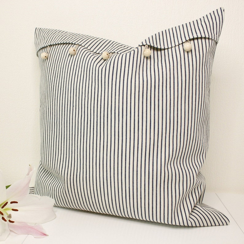Pillow Sham With Buttons Striped Cushion Cover With Buttons 18x18 Linen Buttoned Pillow Cover Decorative Cushion Cover