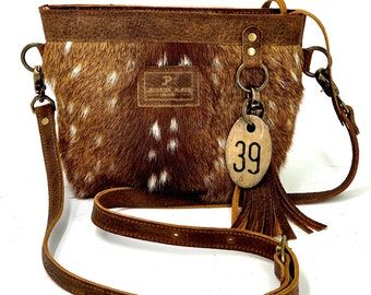 Woven /& Leather Trout Bag Strap Jackson Place Collection Purse Handbag Crossbody Pink Rust Brown White Rainbow Spotted Spot Cow Tag Wide
