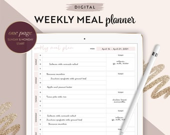 Digital undated pink weekly meal planner notepad for Goodnotes or other apps where you can annotate PDFs   meal organizer