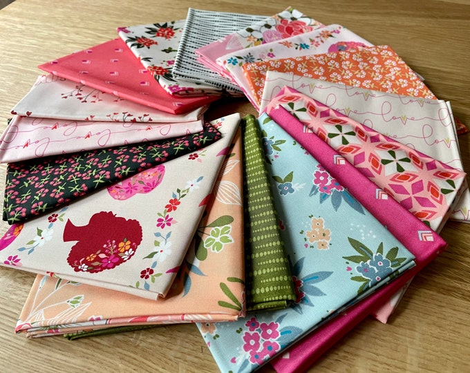 Featured listing image: Open Heart by Maureen Cracknell for Art Gallery Fabrics 16 Piece Fat Quarter Bundle FQW-OPH