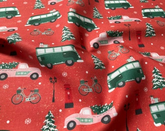 Home For Christmas Cars Red by Angela Nickeas - PBS Fabrics 12021840