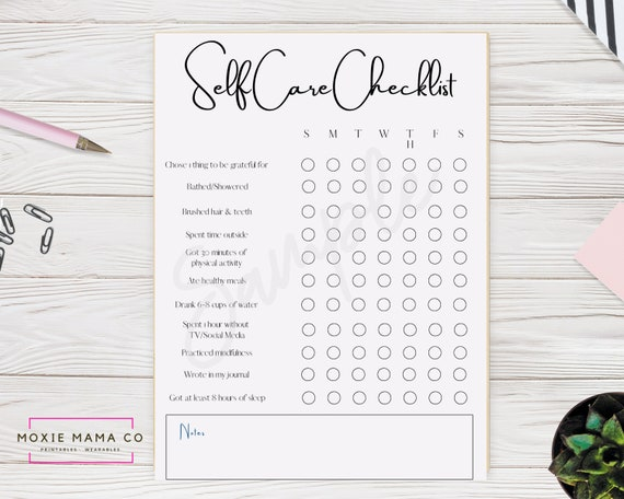 Grey and Black Self Care Checklist  Instant Download  PDF