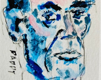 ARTIST PRINT: on  High Quality Archival Paper  Lincoln Portrait ACEO size-2.5 x 3.5 inches Expressionism, Outsider Art, Raw, Self Taught