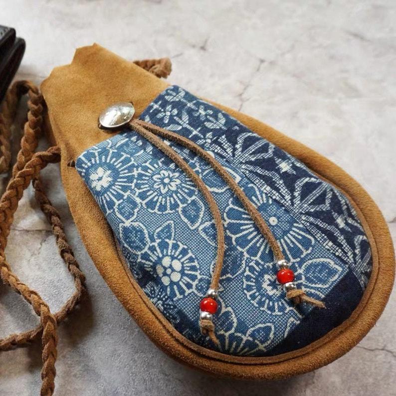 3 Sizes Indigo Union Japanese Handmade Dyed 2.0mm Cowhide Patchwork Vintage Kofu Shoulder Pill Bag