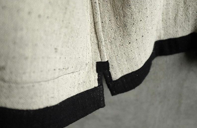 Indigo Union Handmade Black Cotton Linen Unisex Japanese Traditional Minimal Kimono Noragi Hanten Jacket