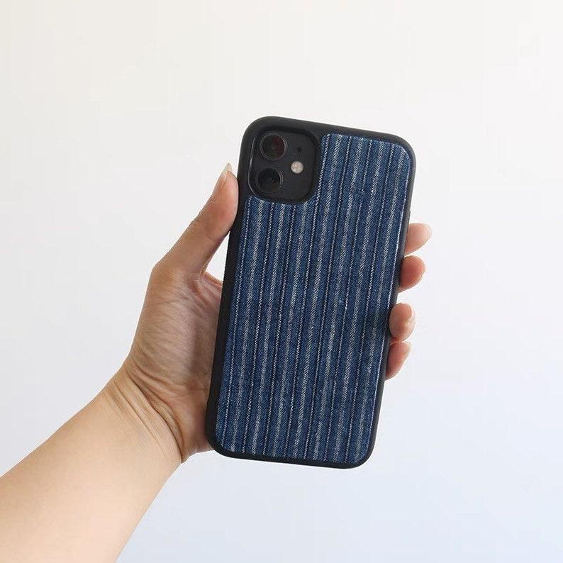 iPhone 7 8 Plus iPhone XS XR XS Max iPhone 11 11 Pro Max 12 Mini 12 Pro Max Indigo Union Handmade Kofu Boro Fabrics Japanese iPhone Cases