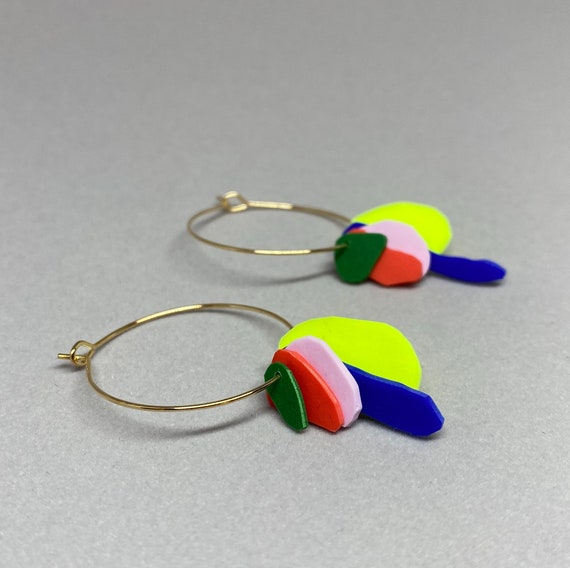 Hoop earrings with green, red, pink, royal blue and neon yellow flakes