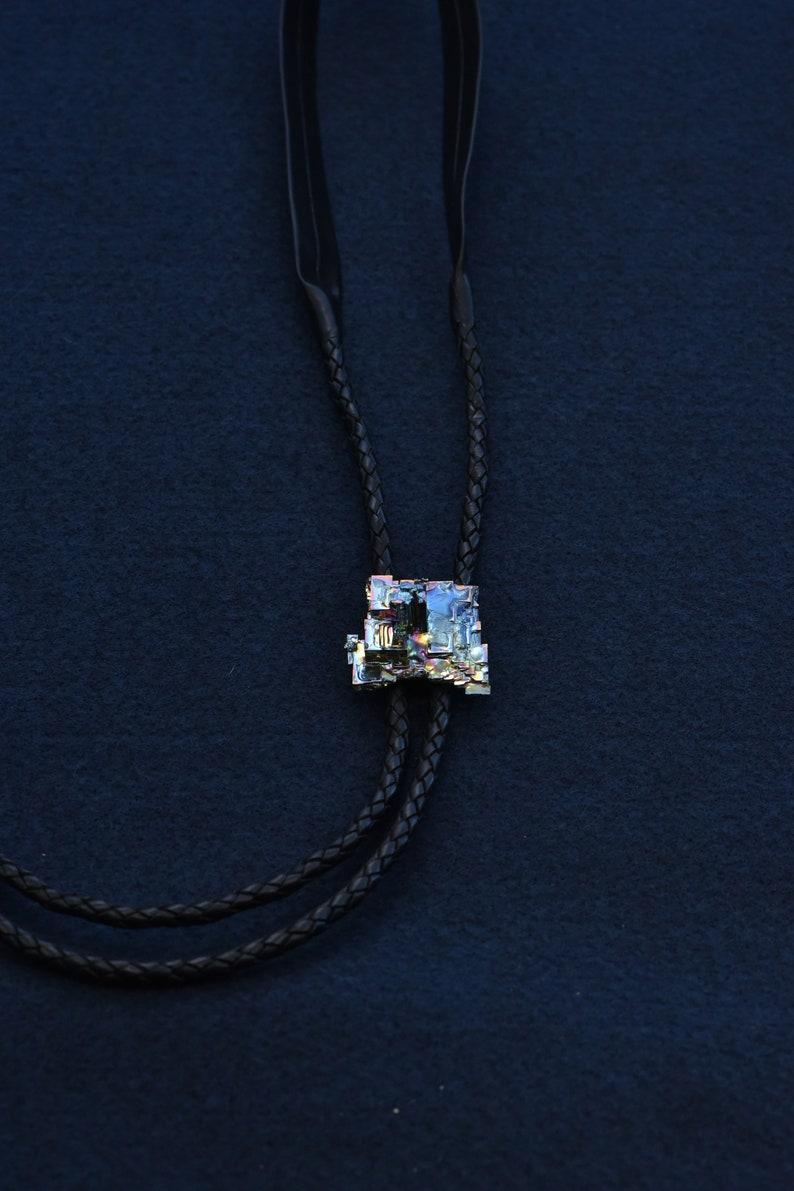 Unique Crystals Made From Molten Bismuth Metal Sculptural Bolo Tie City Blue Naturally Iridescent and Sculptural