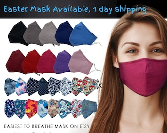 Cotton Face Mask for Glasses Wearers   Nose Wire Filter Pocket   Adjustable ear loops   Reusable Washable   Premium Muslin Cotton