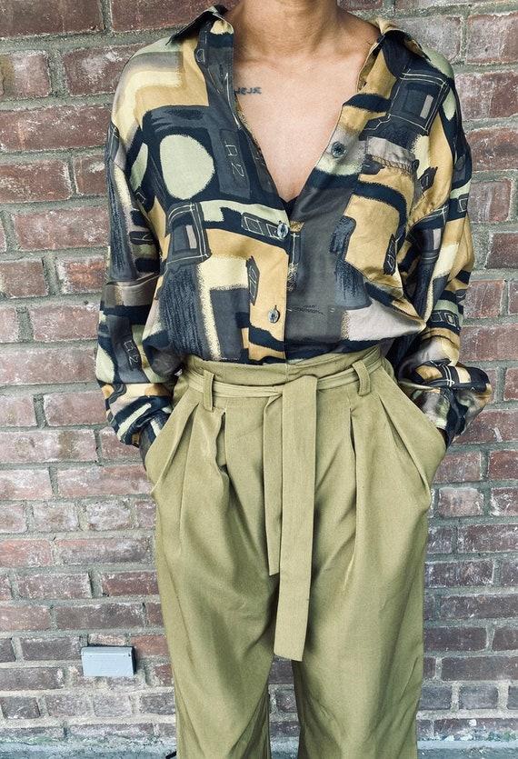 Vintage Neutral Print blouse, women's blouses, vi… - image 2