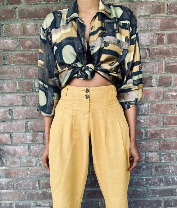 Vintage Neutral Print blouse, women's blouses, vi… - image 4