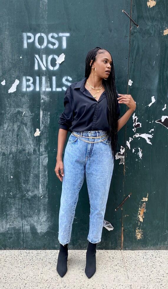 Vintage Retro Washed Denim Mom Jeans, vintage, den