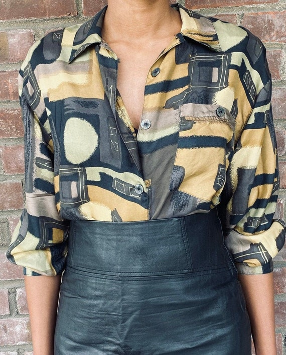 Vintage Neutral Print blouse, women's blouses, vi… - image 1