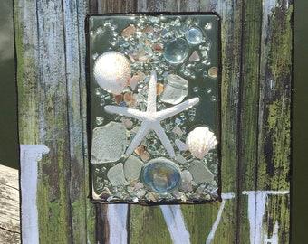 Beach Glass Art, Sea Glass Art, Resin Art, Window Art, Beach Glass, Sea Glass, Beach Decor, Coastal Decor, Wall Hanging, Starfish Art, Beach