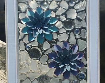Beach Glass Window Art, Sea Glass Window Art, Beach Glass Art, Sea Glass Art, Beach Glass Window, Resin Art, Coastal Art, Beach Glass