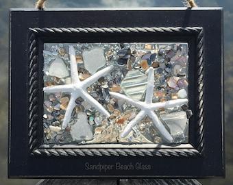 Beach Glass Art, Sea Glass Art, Resin Art, Beach Glass Window Art, Sea Glass Window Art, Beach Glass, Sea Glass, Coastal Art, Starfish Art