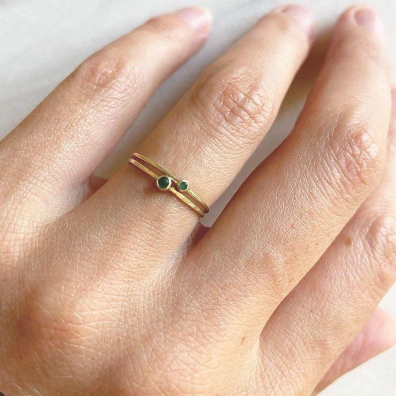 14k Solid Gold Birthstone Rings 2mm natural birtstone Choose Your Birthstone
