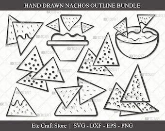 Nachos Silhouette Nachos Vector Chips svg dxf eps png jpg Chips and Dip SVG Nachos Clipart Nachos Cricut Nachos Cut File