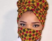 African Print Head Wrap and Face Mask Double layered Ankara Mask Comfortable, Reusable Washable One Size Fits Most Ankara Scarf