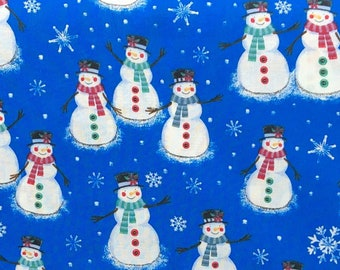 """44/"""" Wide 100/% Cotton Quilting Festive Christmas Fabric Stars Snowman Teal Pink"""