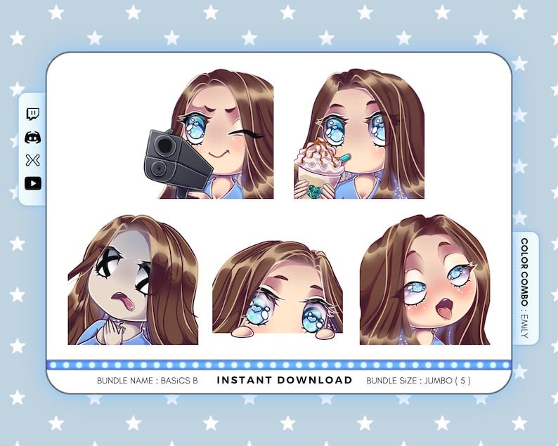 Bundle of 5 : BASiCS B Twitch Emote Pack Kawaii Twitch Emotes Chibi GiRL BROWN HAiR . blue eyes