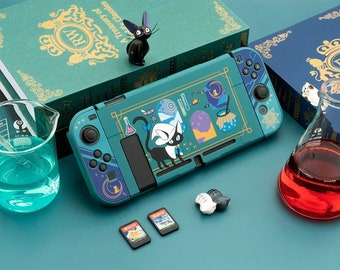 Alchemist's Cat Switch Case - Cat Wizard Switch Protective Glass - Green Soft Feeling Hard Protective Shell - Full Switch Body Protector