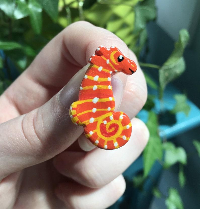 Orange Seahorse Clay Pin  Cute Sea Creature Pin Tiny image 0