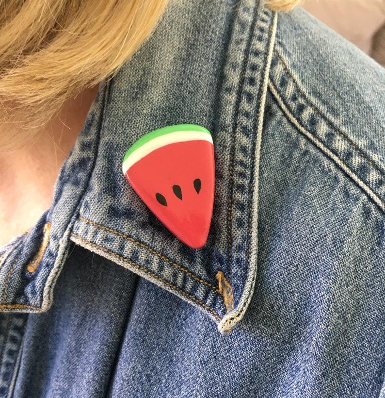 Watermelon Clay Pin  Cute Handmade Slice of Watermelon Pins  image 0