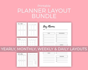 Yearly, Monthly, Weekly, and Daily Planner Printables