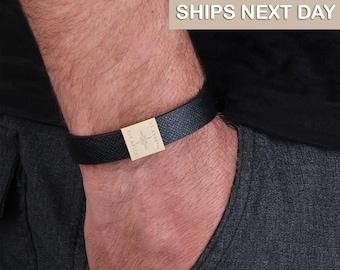 Men/'s Custom Bracelet,Father,Boyfriend Groomsmen Gifts Gift Sideway Initial Men Personalized Initial Bracelet CZ gold letter Bracelet