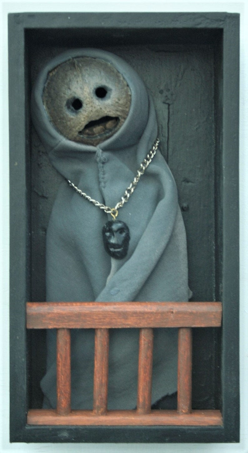 table top or shelf Great Halloween Decor. A one of kind macabre provocative shadow box sculpture suitable for wall hanging THE WITNESS