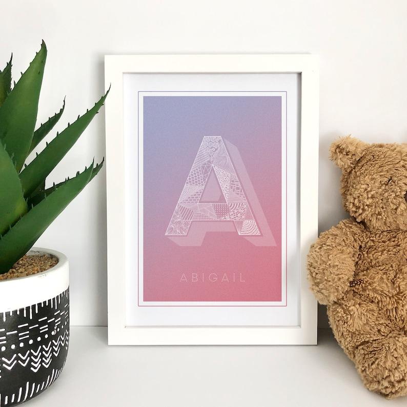 Personalised Initial Art Print Custom Capital Letter Print image 0
