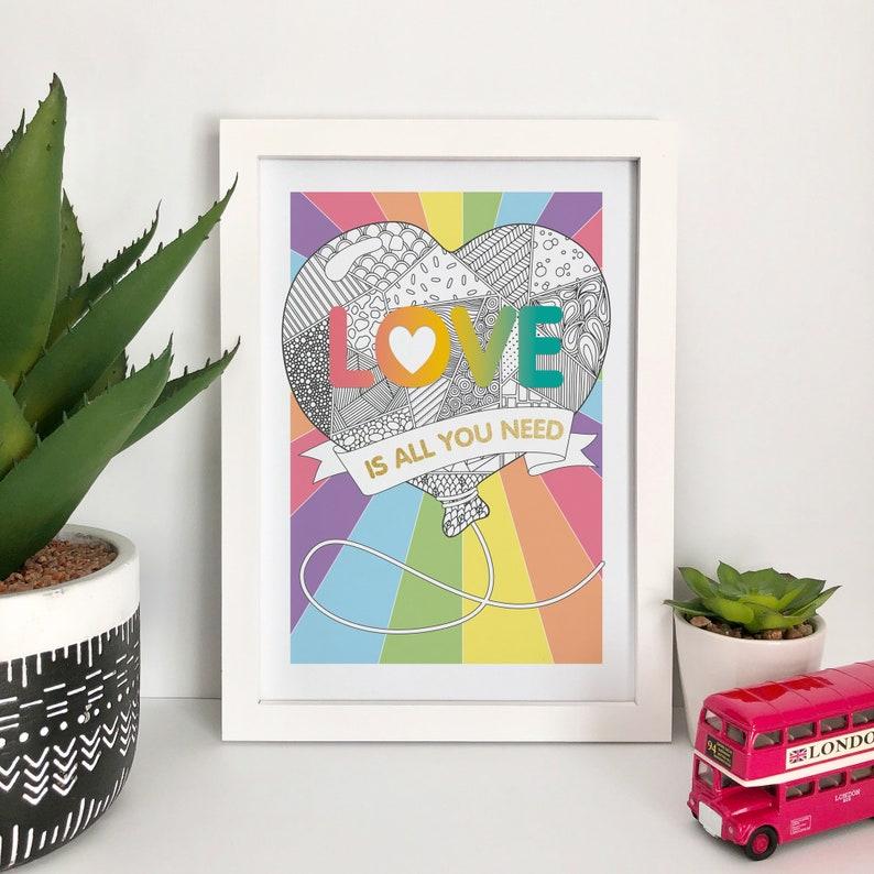 Love Balloon Illustration Art Print Zentangle Line Drawing Rainbow