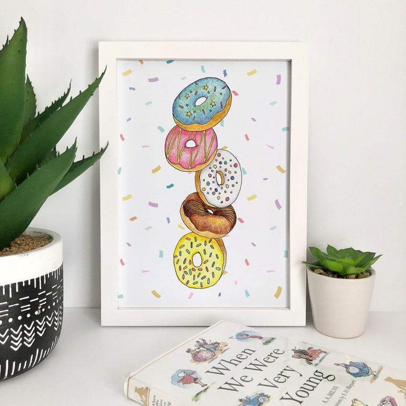 Colourful Doughnut Art Print Donut Lover Wall Art Doughnuts image 0