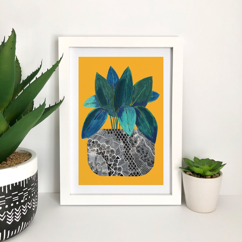 House Plant Art Print Painted Foliage Indoor Plant Artwork Yellow Background