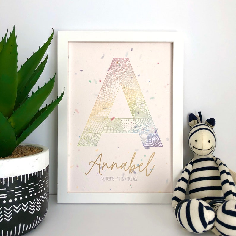 Personalised Rainbow Letter Illustration Alphabet Wall Art image 0